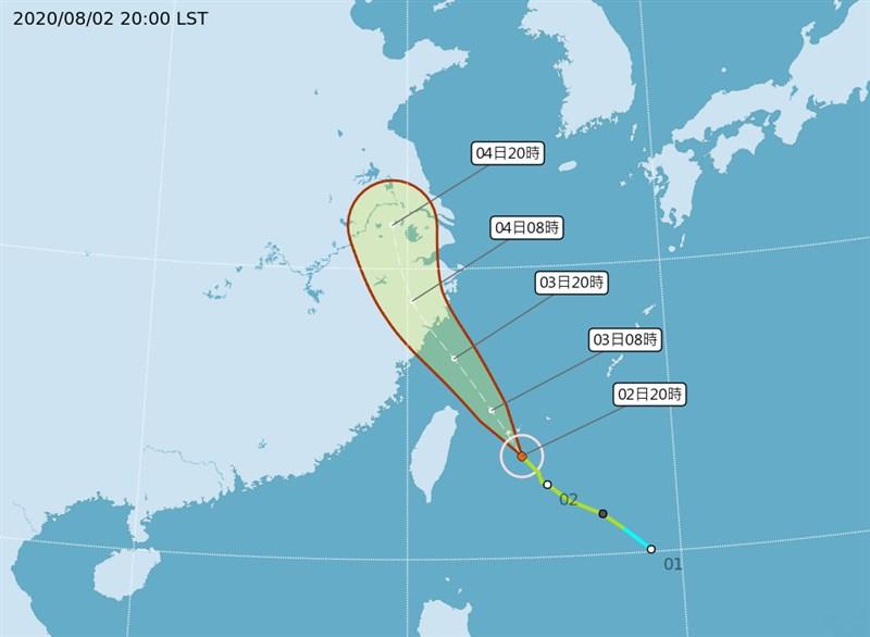 颱風哈格比逼近,強度又略有增強,氣象局2日表示,颱風哈格比路徑掠過西北近海,與定義中的西北颱路徑較不一致。(圖取自氣象局網頁cwb.gov.tw)