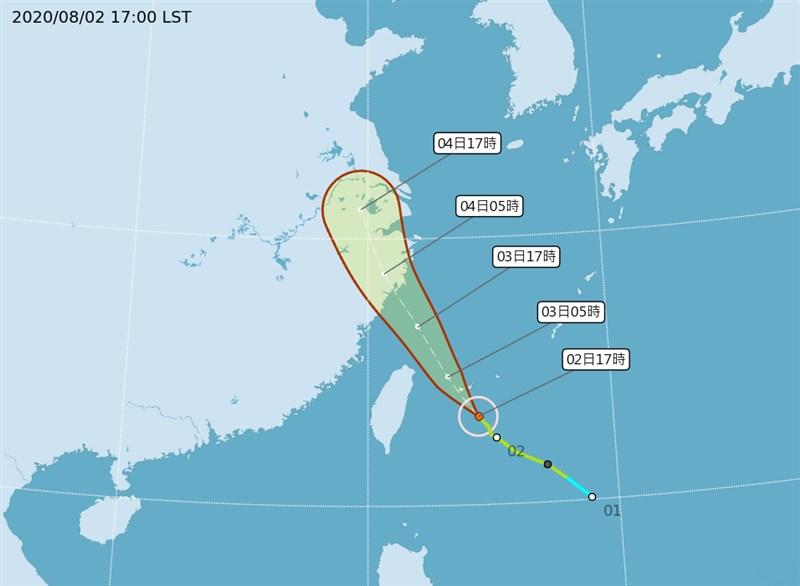 颱風哈格比逼近,速度也加快從每小時17公里轉20公里,向西北轉北北西進行,氣象局預估3日雨勢最為明顯。(圖取自氣象局網頁cwb.gov.tw)