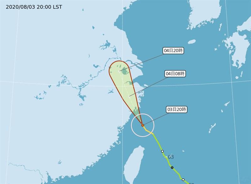 中央氣象局表示,颱風哈格比逐漸遠離台灣,3日晚間11時30分解除海上颱風警報。(圖取自氣象局網頁cwb.gov.tw)
