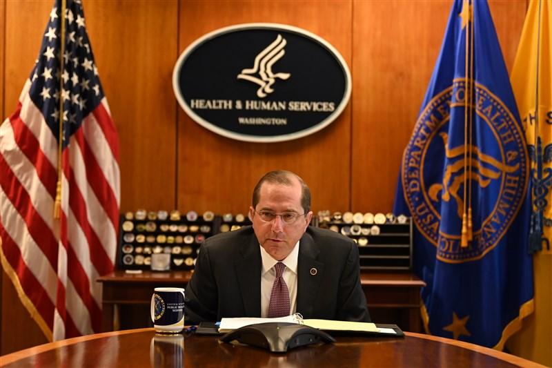 美國在台協會5日表示,美國衛生部長艾薩(圖)將於近日訪台。圖為4月艾薩與衛生福利部長陳時中舉行電話會議討論武漢肺炎疫情。(圖取自twitter.com/SecAzar)