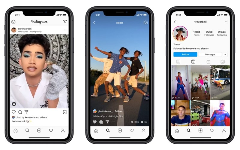 Instagram推出新功能Reels,能讓用戶錄製最長15秒的影片,並可加以剪輯、配上音效及特效。(圖取自about.instagram.com)