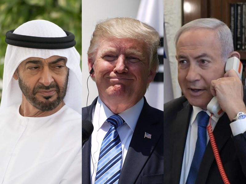 在美國總統川普(中)居間斡旋下,阿布達比邦王儲穆罕默德(左)和以色列總理尼坦雅胡(右)13日達成歷史性和平協議。(左圖取自twitter.com/mohamedbinzayed,中圖為中央社檔案照片,右圖取自facebook.com/Netanyahu)