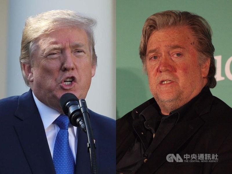 曾任美國總統川普(左)首席策士的巴農(右)被控涉嫌網路募款詐欺,20日遭到逮捕。川普表示,許久未與巴農往來,對網路募款一事一無所知。(中央社檔案照片)