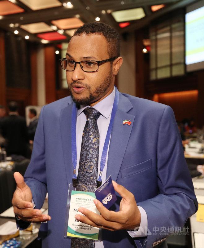 索馬利蘭駐台代表穆姆德(Mohamed Omar Hagi Mohamoud)26日表示,駐台代表處設立工作持續進行,預計9月上旬正式開始運作,代表處人員編制預定共5人,並計畫招募2名台灣職員。中央社記者張新偉攝 109年8月26日