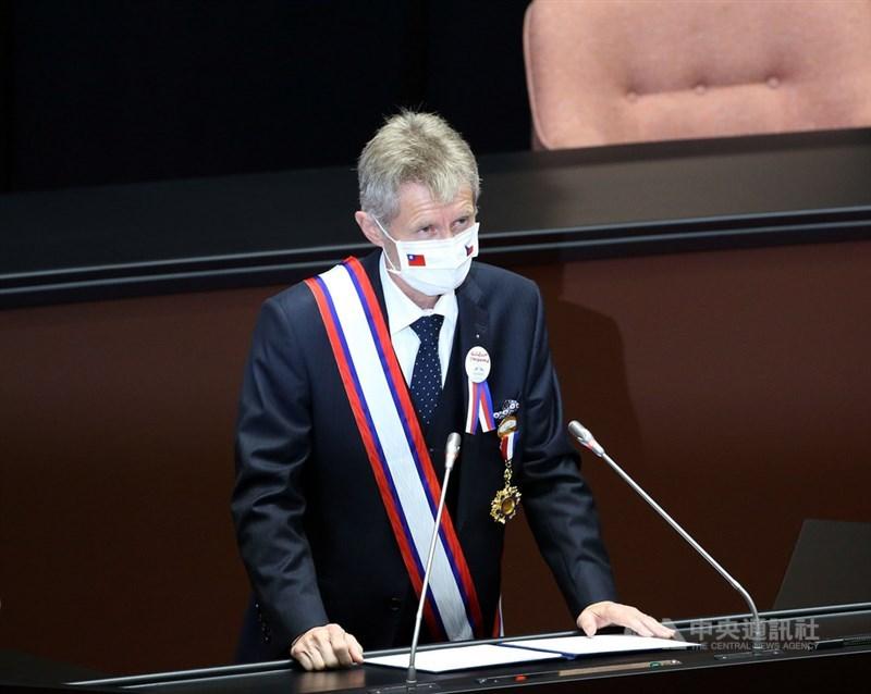 捷克參議院議長維特齊(圖)1日到立法院參訪並發表演說,是非邦交國議長中第一人。對有機會在台灣最高立法機構發表演講,維特齊表達誠摯謝意,也說感到十分榮幸。中央社記者郭日曉攝 109年9月1日