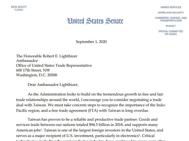 美國參議員史考特日前致函美國貿易代表萊特海澤,呼籲與台灣就自由貿易協定展開協商。(圖取自rickscott.senate.gov)