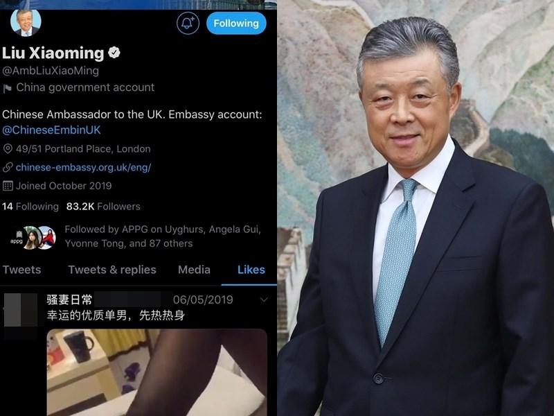 中國駐英國大使劉曉明官方推特帳號被發現點讚色情影片,中國駐英使館聲明是遭到反華分子「大肆惡搞」,已經向推特舉報。(左圖取自twitter.com/lukedepulford,右圖取自中新社)