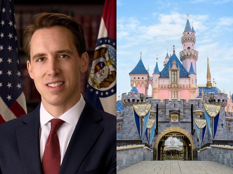 美國參議員霍利9日致函迪士尼執行長包正博,狠批迪士尼在「花木蘭」製片期間,為中共對維吾爾族及其他穆斯林少數族群的「種族滅絕」洗刷罪名。(左圖取自維基共享資源,版權屬公有領域;右圖取自facebook.com/Disneyland)