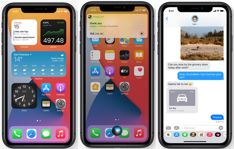 蘋果公司17日釋出iOS 14作業系統,新系統主畫面編排的自由度更高,Siri與數位汽車鑰匙功能再升級。(圖取自蘋果網頁apple.com)