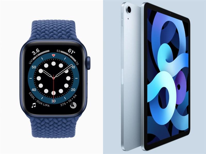 蘋果公司15日在年度新產品發表會公布為Apple Watch series 6(左)、iPad Air(右)等新產品。(圖取自蘋果網頁apple.com)