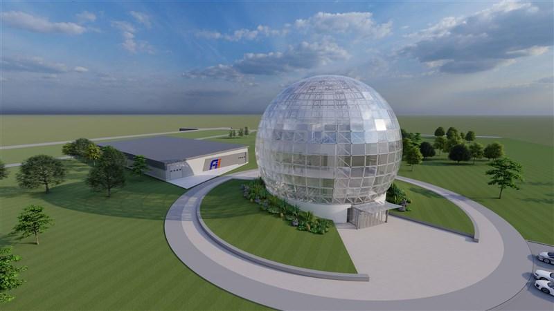鴻海持續布局美國威斯康辛州,位於威谷科技園區的球形高速運算資料中心鋼鐵結構工程已完成。圖為建築物概念圖。(鴻海提供)