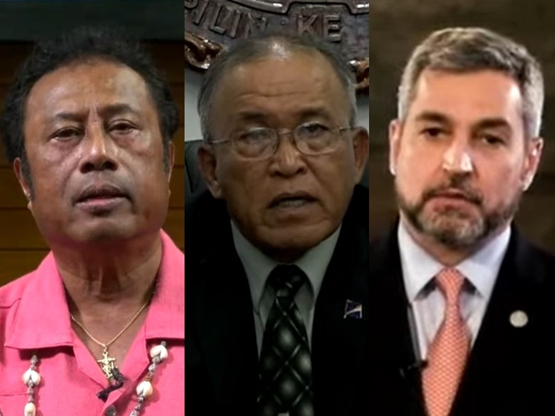 聯大總辯論邁入第2天,帛琉總統雷蒙傑索(左起)、馬紹爾群島總統柯布亞、巴拉圭總統阿布鐸發聲挺台參與聯合國體系。(圖取自聯合國YouTube頻道網頁youtube.com)