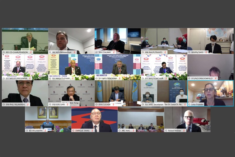 APEC衛生經濟會議今年受武漢肺炎疫情影響,首度線上舉行,台灣由衛福部長陳時中(第3排中)率防疫相關部會與會。(圖取自APEC網頁apec.org)