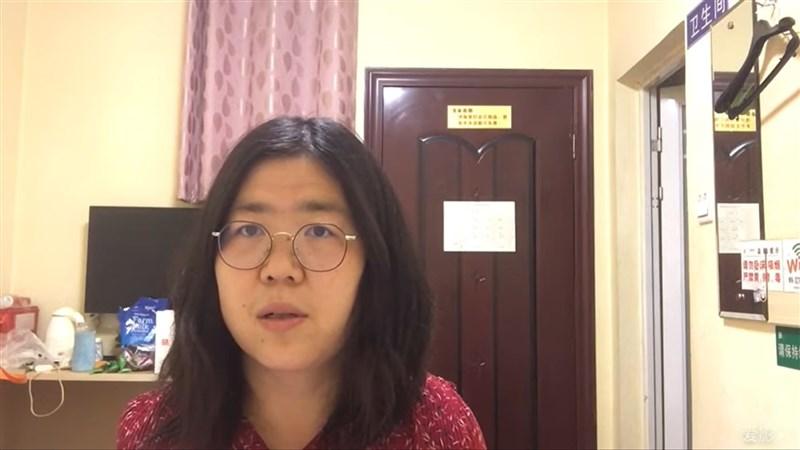 中國公民記者張展(圖)28日獲判刑4年,是迄今已知因報導武漢肺炎疫情而被判刑的首例。(圖取自張展YouTube網頁youtube.com)