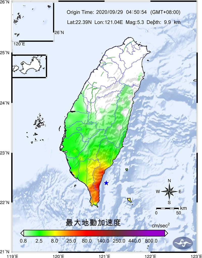 台東29日凌晨起至上午9時許連續發生地震,最大規模達5.3。氣象局表示,預計未來一週還會有規模4以上地震發生機率。(圖取自中央氣象局網頁cwb.gov.tw)