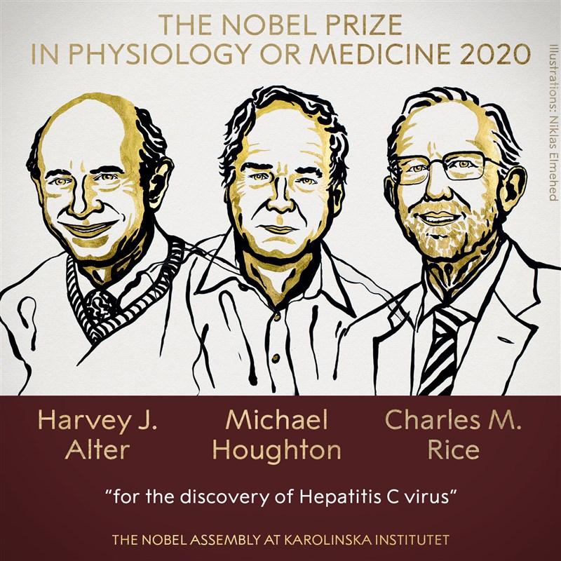 2020年諾貝爾獎醫學獎5日揭曉,由學者阿特爾、賀頓及萊斯共享殊榮。(圖取自facebook.com/nobelprize)
