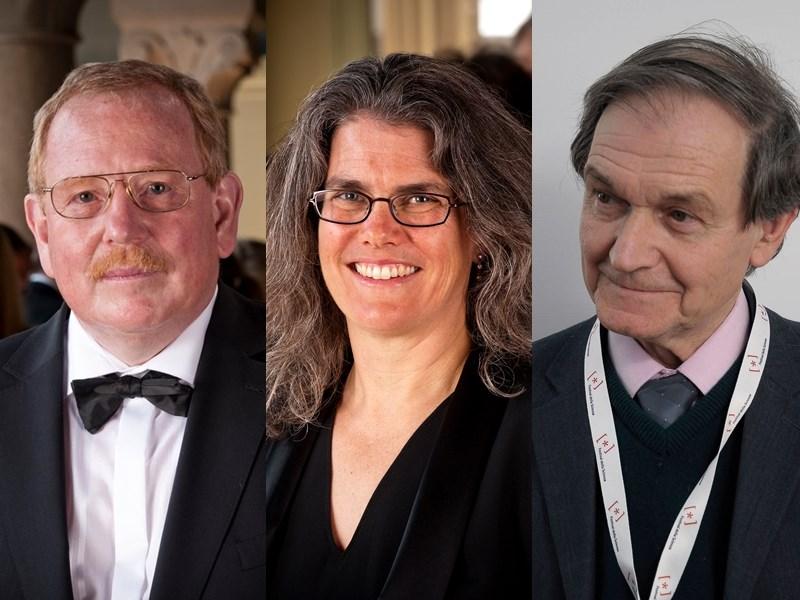 2020年諾貝爾獎6日頒發物理學獎,由學者根策爾(左)、吉茲(中)及潘羅斯(右)共享殊榮。(圖取自twitter.com/NobelPrize)