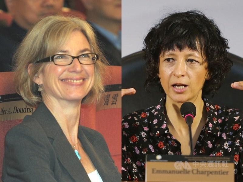 2020年諾貝爾化學獎頒給研究基因編輯的夏彭提耶(右)和道納(左),兩人曾於2016年獲得唐獎生技醫藥獎,這也是唐獎第二次「命中」諾貝爾獎得主。(中央社檔案照片)