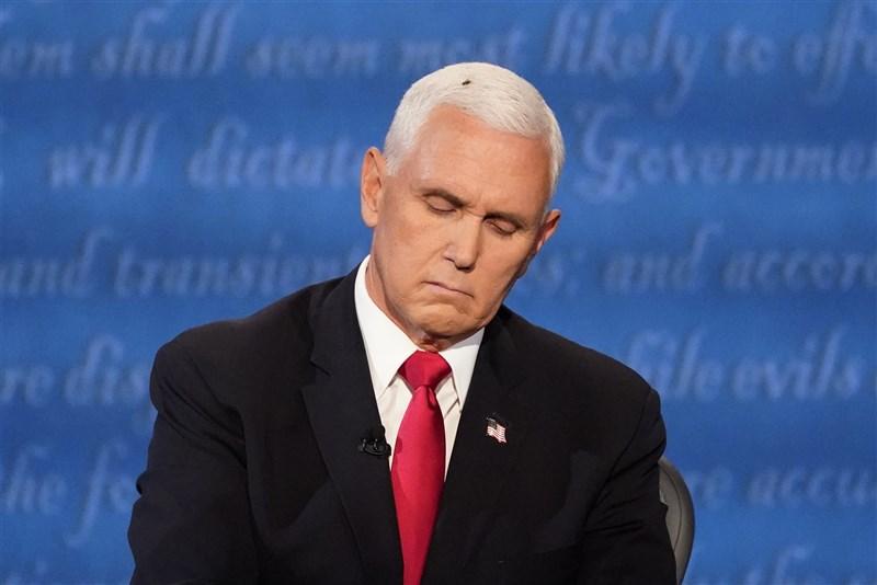 2020年美國總統大選唯一一場副總統候選人辯論7日晚間舉行,副總統彭斯(圖)與民主黨副總統候選人賀錦麗忙著交手,卻有一隻蒼蠅停在彭斯的白髮上長達2分鐘。(美聯社)