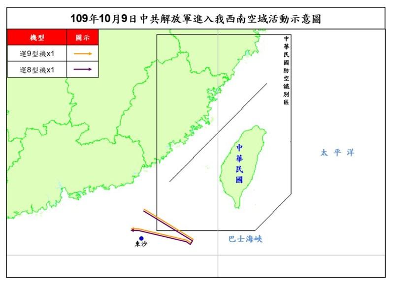 空軍司令部表示,共軍1架運8機、1架運9機10月9日侵犯台灣西南防空識別區,並接近東沙島。根據國防部公開資訊,這是共軍自9月16日以來第15度擾台。(圖取自國防部網頁mnd.gov.tw)