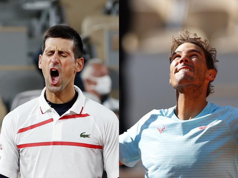 世界球王喬科維奇(左)9日闖進法國網球公開賽男單四強,即將在他第40次的大滿貫賽準決賽強碰西班牙「蠻牛」納達爾(右)。(左圖取自twitter.com/DjokerNole;右圖取自twitter.com/atptour)