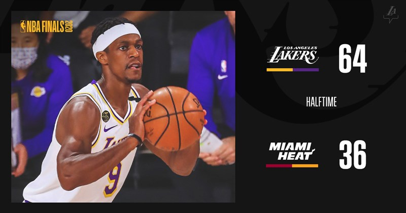 NBA湖人11日防守奏效,進攻上4人得分破十,且一度領先30分的情況下,上半場64比36領先熱火。(圖取自twitter.com/Lakers)