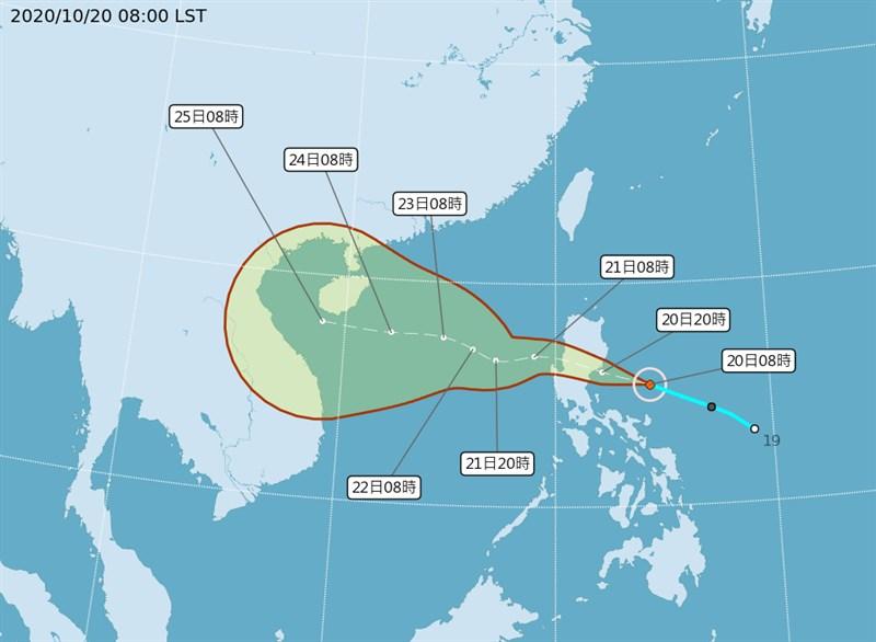 颱風沙德爾20日形成,氣象局預估強度不排除達中颱等級;降雨最大區域會落在基隆北海岸、宜蘭、花蓮等地。(圖取自中央氣象局網頁cwb.gov.tw)