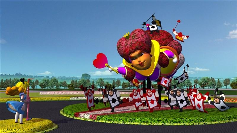 台中國際花毯節今年邁入10週年,市府以地毯式美麗花卉打造愛麗絲仙境,民眾可來場華麗花境探險。(台中市政府提供)中央社記者趙麗妍傳真 109年10月21日