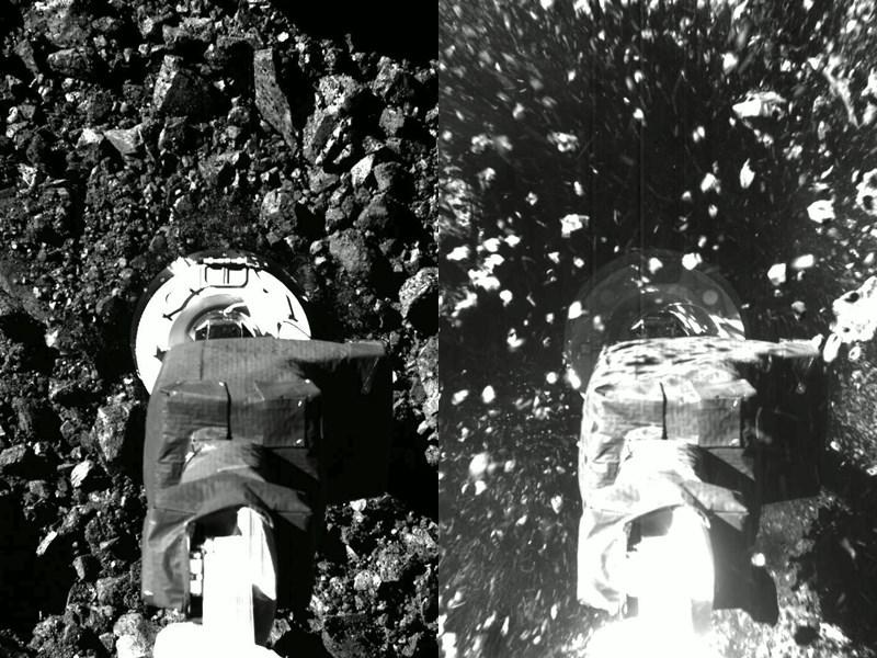 美國國家航空暨太空總署(NASA)的無人探測器「歐塞瑞斯號」20日短暫觸及小行星貝努(Bennu)遍布圓石的表面,以精確操作方式蒐集石塊和塵埃樣本。(圖取自twitter.com/OSIRISREx)
