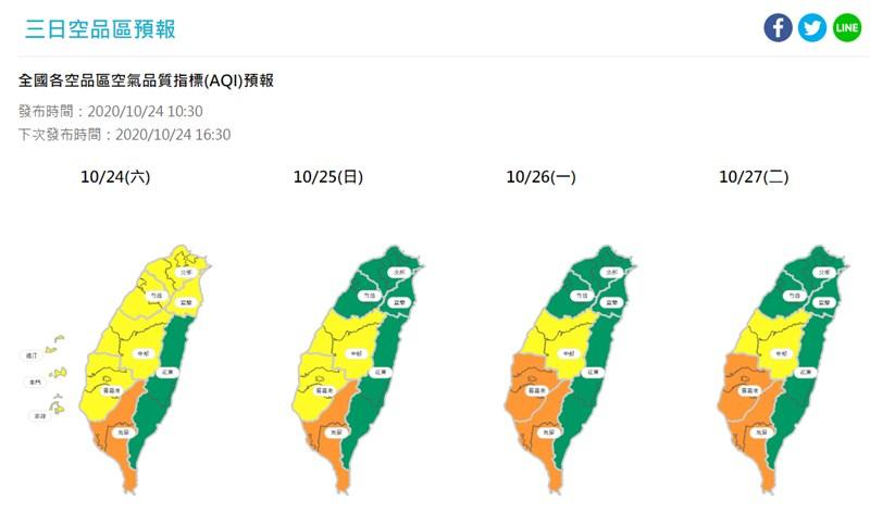 環保署最新預報顯示,24日南部地區因位於下風處,易有污染物累積,高屏地區空氣品質為「橘色提醒」等級。(圖取自環保署空氣品質監測網頁airtw.epa.gov.tw)