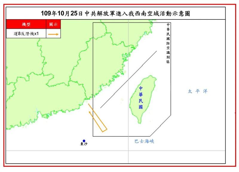 空軍表示,共軍一架運8反潛機10月25日侵犯台灣西南防空識別區,這是共軍自9月16日以來,第23度擾台。(圖取自國防部網頁mnd.gov.tw)