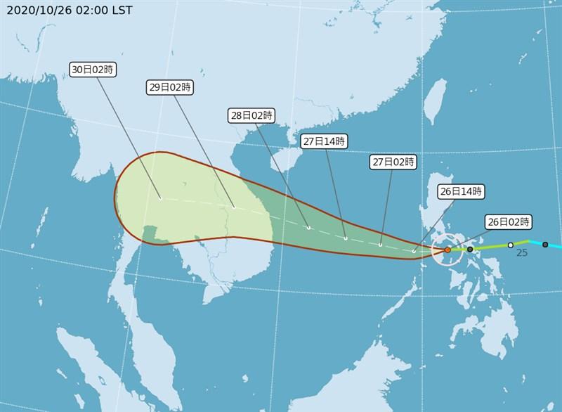 中央氣象局26日凌晨2時路徑潛勢預測圖顯示,第18號颱風莫拉菲在菲律賓中部,即將進入南海。(圖取自中央氣象局網頁cwb.gov.tw)