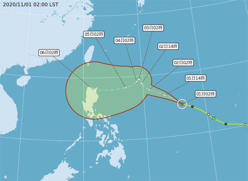 氣象局觀測,颱風閃電1日清晨2時位置,在鵝鑾鼻東南東方約1810公里海面上,持續朝西北西方向移動,未來路徑及強度不確定性仍大。(圖取自中央氣象局網頁cwb.gov.tw)