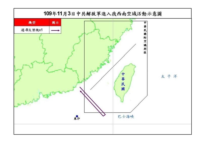 空軍3日發布共機動態,1架運8反潛機上午侵犯台灣西南防空識別區(ADIZ)。(圖取自國防部網頁mnd.gov.tw)