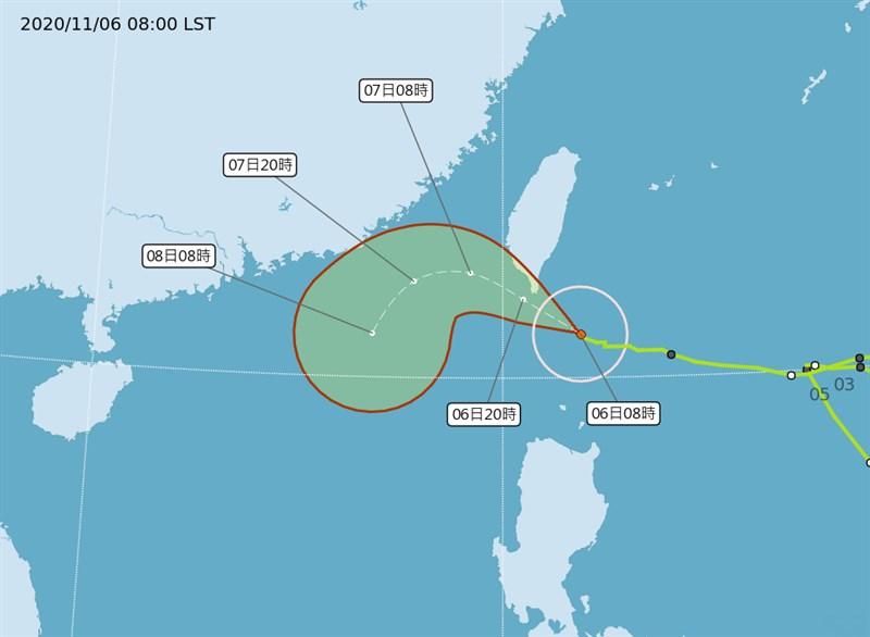 輕度颱風閃電逼近南台灣,氣象局表示,由於閃電路徑有往北修趨勢。(圖取自中央氣象局網頁cwb.gov.tw)