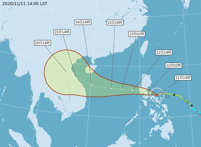 氣象局表示,預估12日深夜中颱梵高水氣漸增,13日影響最大,中南部山區有雨,稍解水情。(圖取自中央氣象局網頁cwb.gov.tw)
