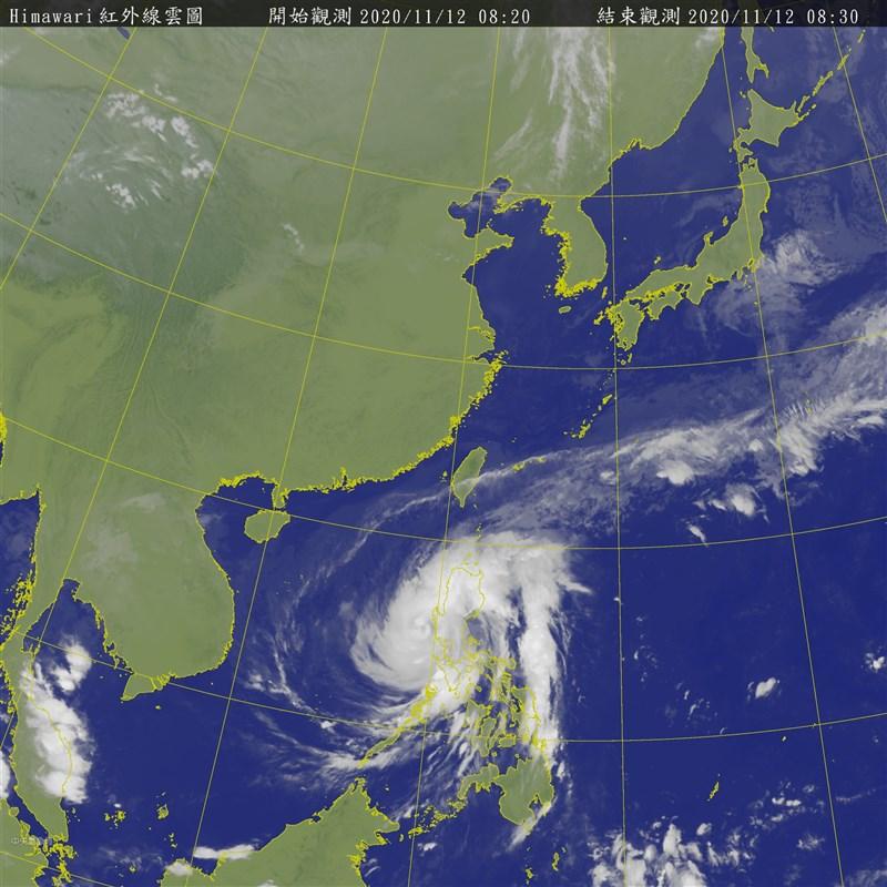 吳德榮表示,12日受東北風影響,迎風面北部山區、東北部有較大雨勢;13至14日因中颱梵高水氣移入,北部山區、宜花局部地區雨勢將加大。(圖取自中央氣象局網頁cwb.gov.tw)