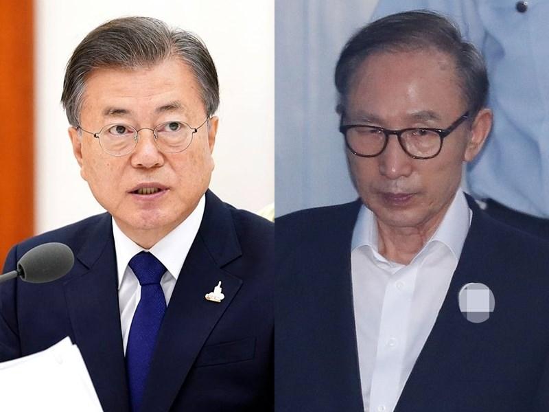 據韓媒報導,韓國總統文在寅(左)正準備任內第4度特赦名單,甫遭判刑入獄17年的前總統李明博(右)可能包括在內。(左圖取自facebook.com/moonbyun1、右圖為韓聯社提供)