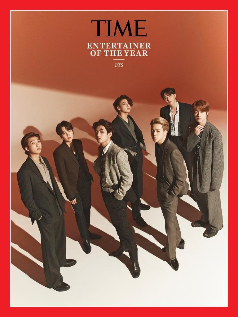美國「時代雜誌」10日公布2020年度藝人為韓國人氣團體防彈少年團(BTS)。(圖取自twitter.com/time)