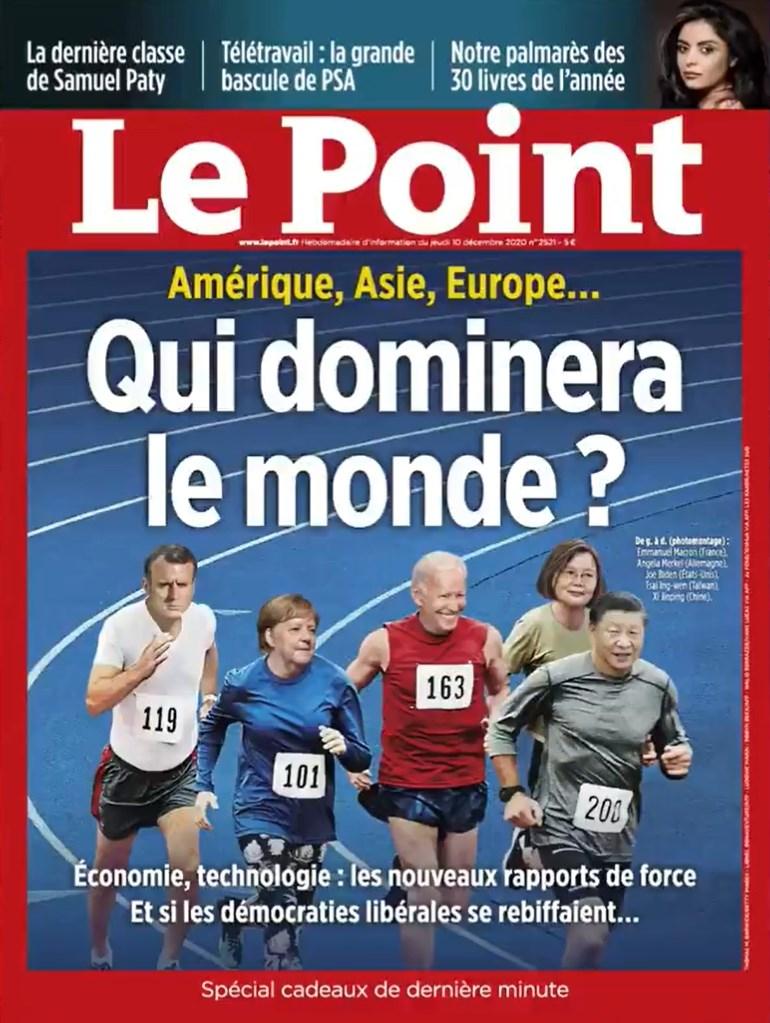 法國「重點週刊」最新一期10日出刊,標題為「誰將主宰世界?」封面中總統蔡英文與四大強國領袖並列。(圖取自重點週刊網頁lepoint.fr)