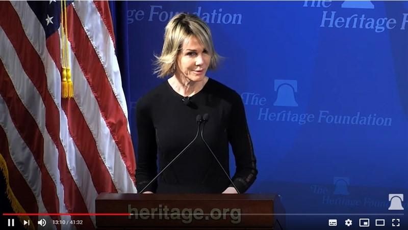 美國駐聯合國大使克拉夫特14日表示,台灣是真實的良善力量,與中國侵犯人權的暴行形成鮮明對比。(圖取自The Heritage Foundation YouTube網頁youtube.com)