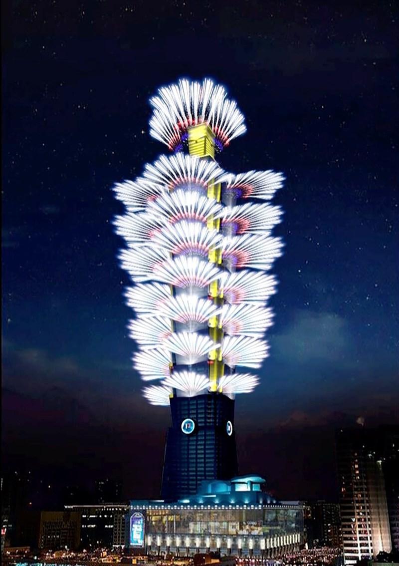 北市「台北最High新年城 2021跨年晚會」照常舉辦,府前廣場管制區將在31日下午3時開放入場,人數上限為8萬人,並設置3處管制點。圖為台北101大樓跨年煙火示意。(台北101提供)