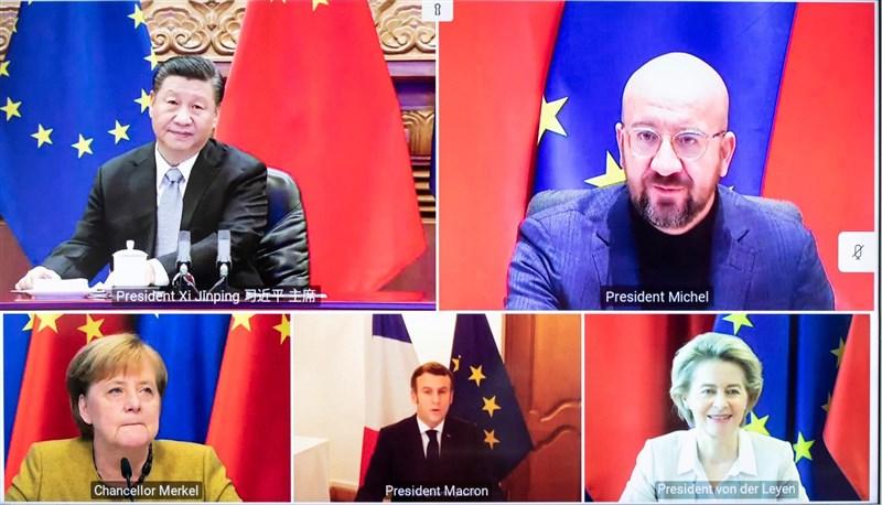 德國總理梅克爾(下排左)、法國總統馬克宏(下排中)、歐盟執委會主席范德賴恩(下排右)等歐盟領導人30日與中國國家主席習近平(上排左)在「原則上」達成投資協定。(圖取自twitter.com/vonderleyen)