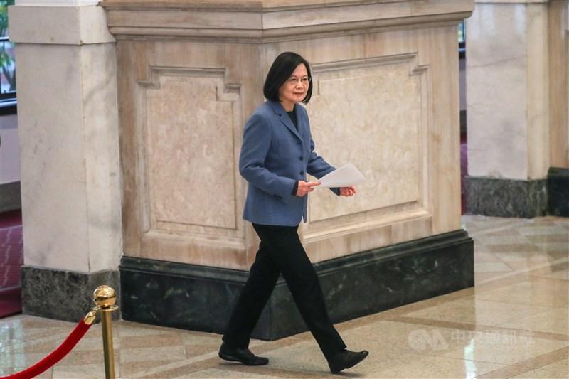 總統蔡英文1日上午在總統府敞廳,發表2021年新年談話。中央社記者裴禛攝 110年1月1日