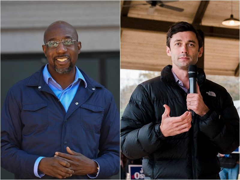 美國喬治亞州5日舉辦聯邦參議員決選,主流媒體6日相繼宣布民主黨籍候選人華諾克(左)、奧索夫(右)、雙雙擊敗共和黨對手。(左圖取自facebook.com/reverendwarnoc,右圖取自facebook.com/jonossoff)