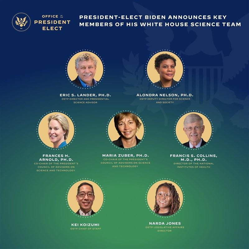 美國總統當選人拜登16日介紹他的科學顧問團隊,拜登還將把科技政策主管提升至內閣層級,成白宮首例。(圖取自facebook.com/Transition46)