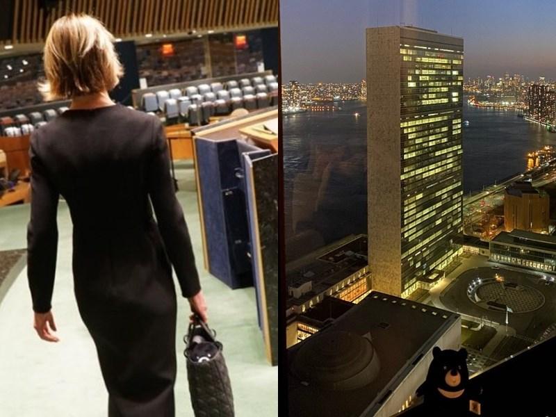 美國駐聯合國大使克拉夫特任期結束,她在交棒前再度推文發聲挺台,呼籲各國團結對抗中國企圖排擠並孤立台灣的作為,並附上她帶著台灣黑熊布偶走向聯合國大會廳講台的背影照。(圖取自twitter.com/USAmbUN)