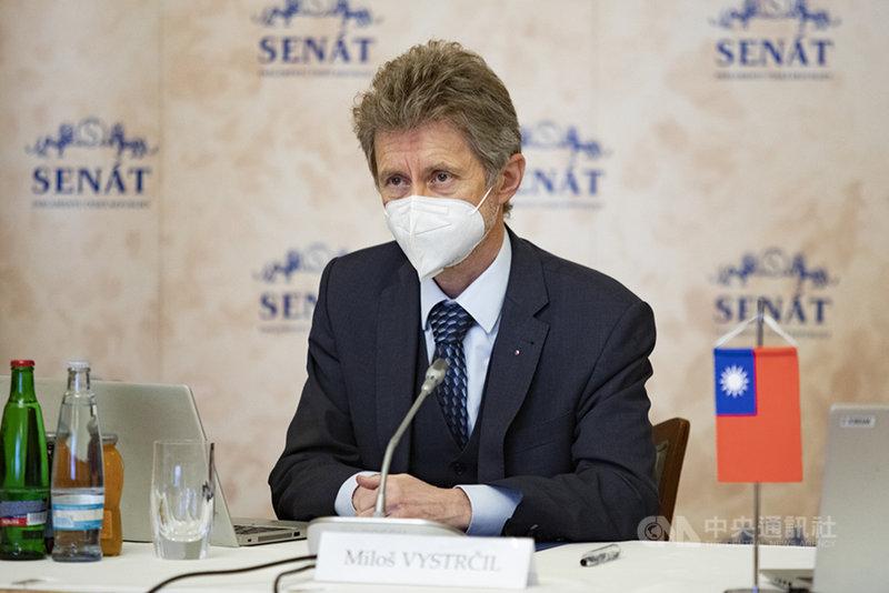 捷克參議院議長維特齊28日在參院主持捷克學生赴台學習華語文的簡報會。(捷克參議院提供)中央社記者林育立柏林傳真  110年1月29日