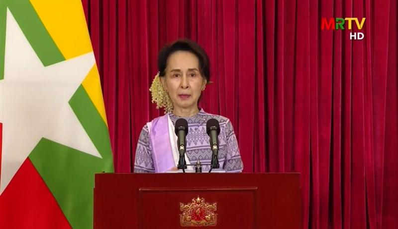 緬甸總統溫敏和國務資政翁山蘇姬(圖)等領導層官員1日突遭拘留,數小時後官方媒體緬甸廣播電視台發生技術問題,無法正常播出。(圖取自MRTV YouTube Channel YouTube頻道網頁youtube.com)