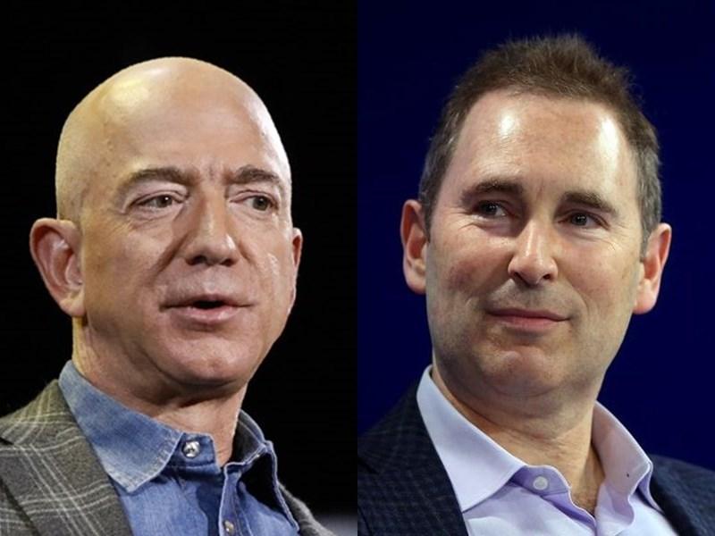 電商龍頭亞馬遜2日宣布,貝佐斯(左)在今年第3季將執行長的棒子交給旗下網路服務執行長賈西(右)。(左圖為美聯社;右圖為路透社)